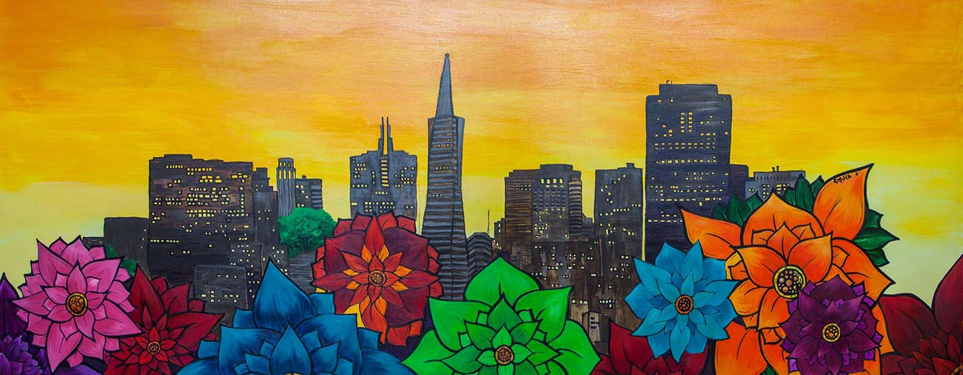Front Desk Mural – San Francisco Cityscape at night
